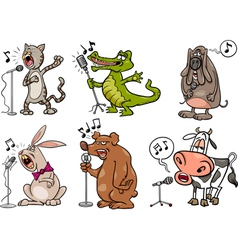 singing animals set cartoon vector image