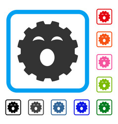 Sleepy smiley gear framed icon vector