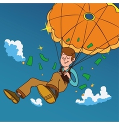 Smiling man fall on a golden parachute vector