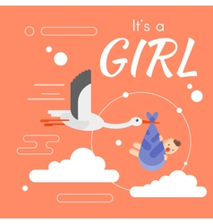 stork its a girl vector image