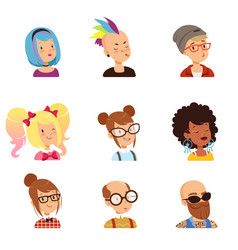 Strange people characters set funny faces with vector