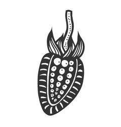 Strawberry black and white vector
