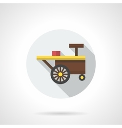 Summer trade cart round flat color icon vector image