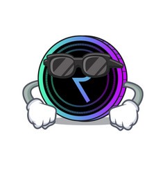 Super cool request network coin character cartoon vector