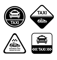 Taxi cab set black buttons vector image