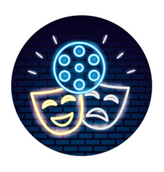 Theater mask with light of neon icon vector