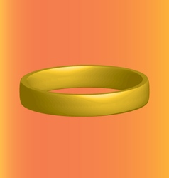 Three-dimensional gold ring horizontally on an vector