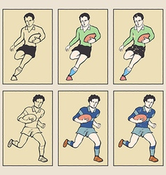 vintage style sports cards rugamerican football vector image