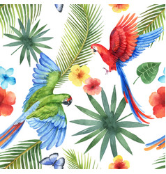 Watercolor seamless pattern with parrots vector