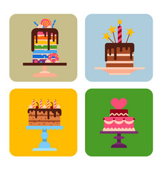 wedding or birthday pie cakes cards flat sweets vector image