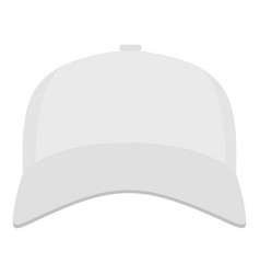White baseball cap in front icon flat style vector