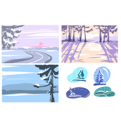 Winter hand drawn backgrounds greeting cards set vector