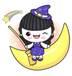 Witch character is sitting on the moon halloween vector