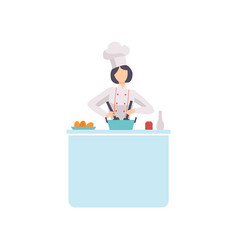 Woman chef cook character wearing uniform and hat vector