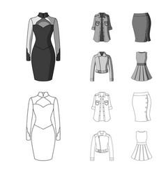 Women clothing outlinemonochrome icons in set vector