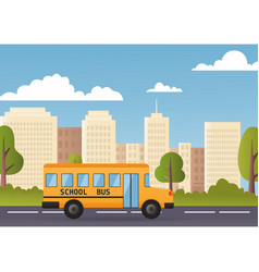 Yellow bus riding back to school 1 september flat vector