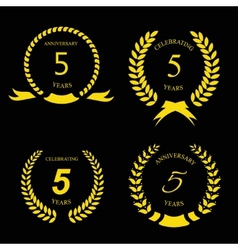 5 years anniversary golden label with ribbon vector image vector image