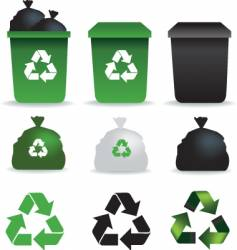 Bin bags and bins recycle vector