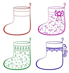Christmas stockings set vector image vector image