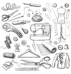Hand drawn sewing icons set vector image