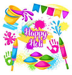 happy holi set of elements buckets with paint vector image vector image