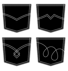 jeans pocket black symbols vector image