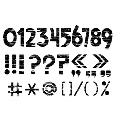 numbers 0-9 and punctuation marks on grunge style vector image