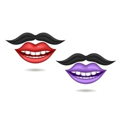 Purple and red lips vector image vector image