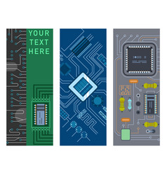 computer ic chip template microchip brochure vector image