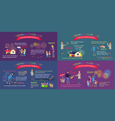 fireworks safety infographic comparative poster vector image vector image