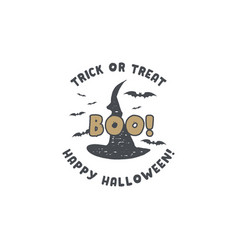 halloween badge vintage hand drawn logo design vector image
