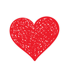 hand-drawn red heart vector image vector image