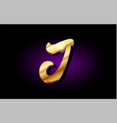 J alphabet letter golden 3d logo icon design vector