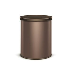 Brown tin box packaging container for tea coffee vector image