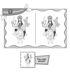 find 9 differences game durga black vector image vector image