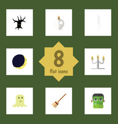 flat icon celebrate set of candlestick broom vector image vector image