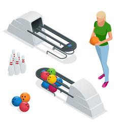 isometric bowling pins at bowling machine a vector image