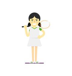 smiling badminton sportswoman with racket vector image vector image