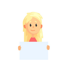 cute blond girl with piece of empty paper in hands vector image vector image
