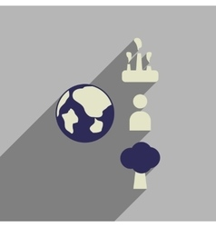 Flat web icon with long shadow earth infographics vector