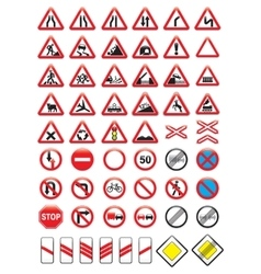 Set of glossy road signs vector image