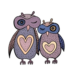 Two cute decorative owls vector image