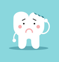 unhappy cute cartoon tooth character with with vector image