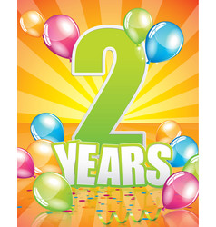 2 years birthday card vector