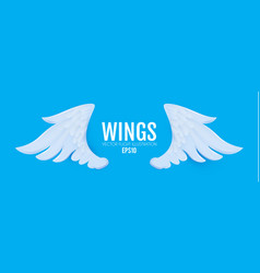 3d cartoon and realistic angel white wings paper vector image