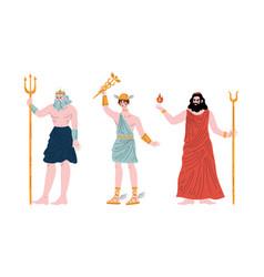 ancient greek god with poseidon and hermes vector image