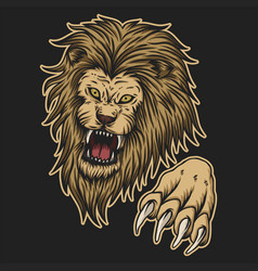 angry lion attack vector image