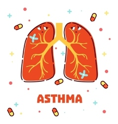 Asthma concept with cartoon lungs vector image