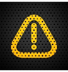 Attention yellow sign on black metal texture with vector image