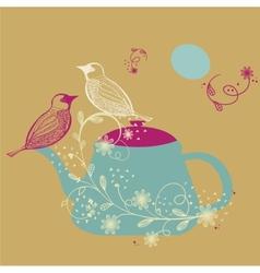 Birds couple on the teapot hand drawn vector